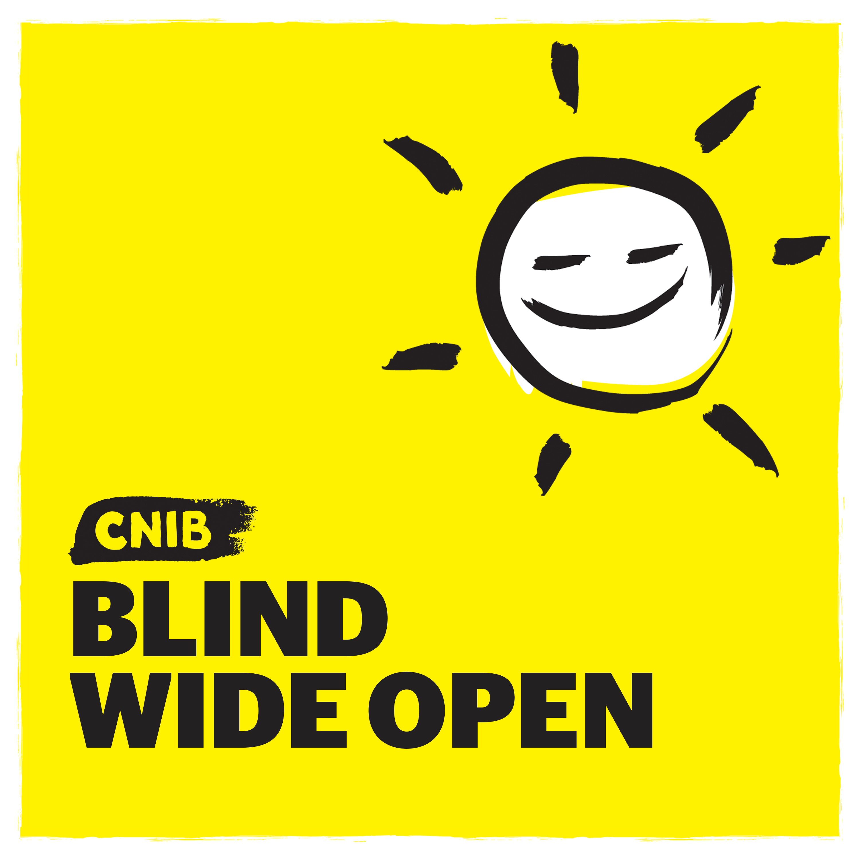 CNIB Blind Wide Open logo. An illustration of a sunshine on a yellow background.