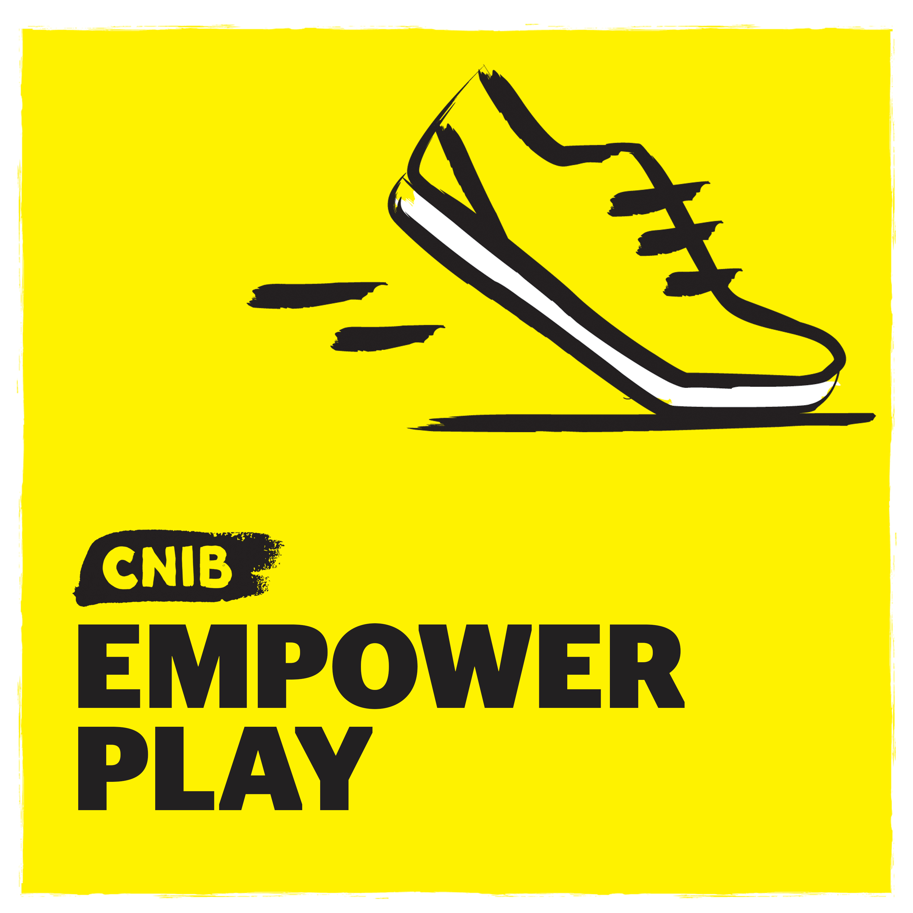 CNIB EmpowerPlay logo. An illustration of a running shoe on a yellow background.
