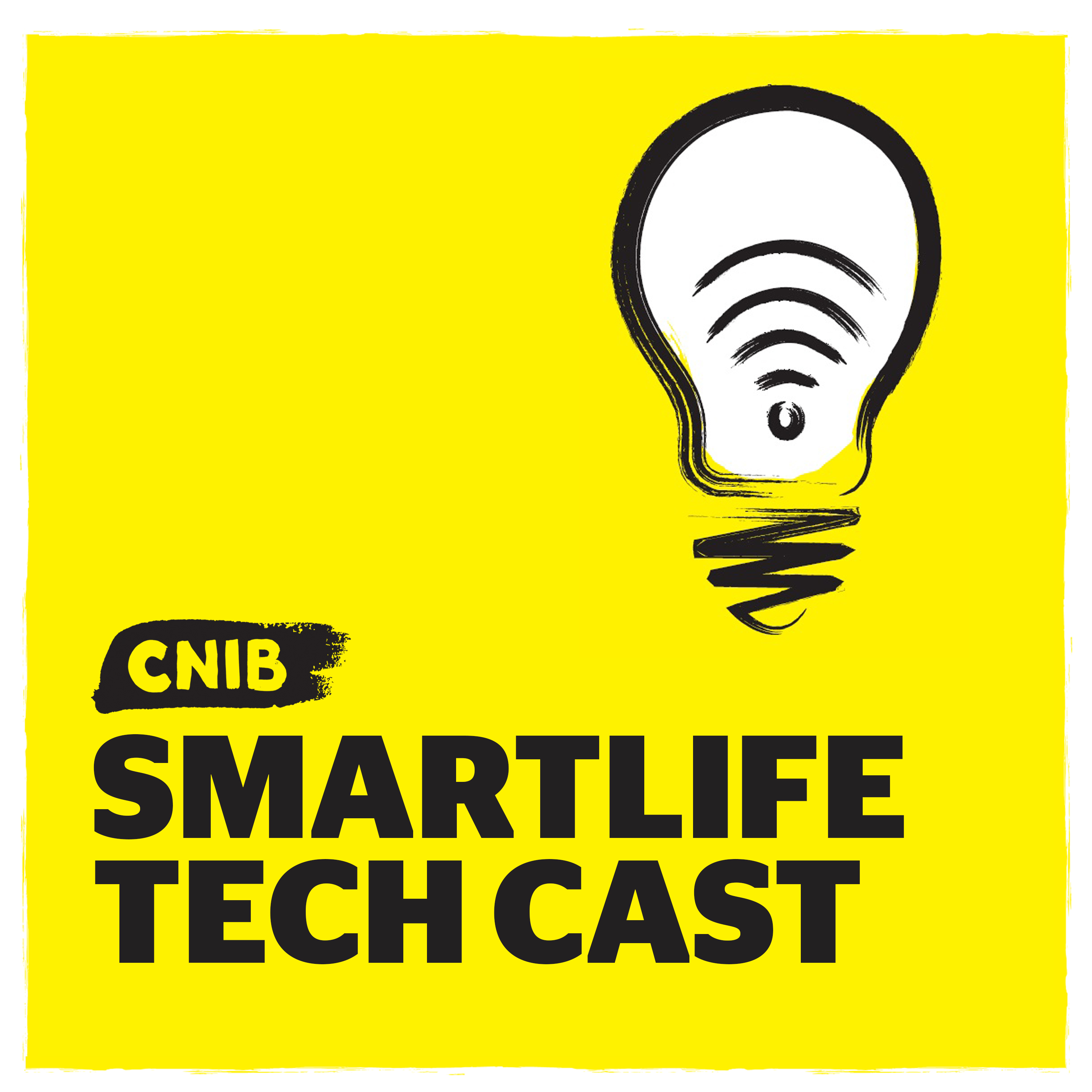 CNIB SmartLife Tech Cast logo. An illustration of a  light bulb icon on yellow.