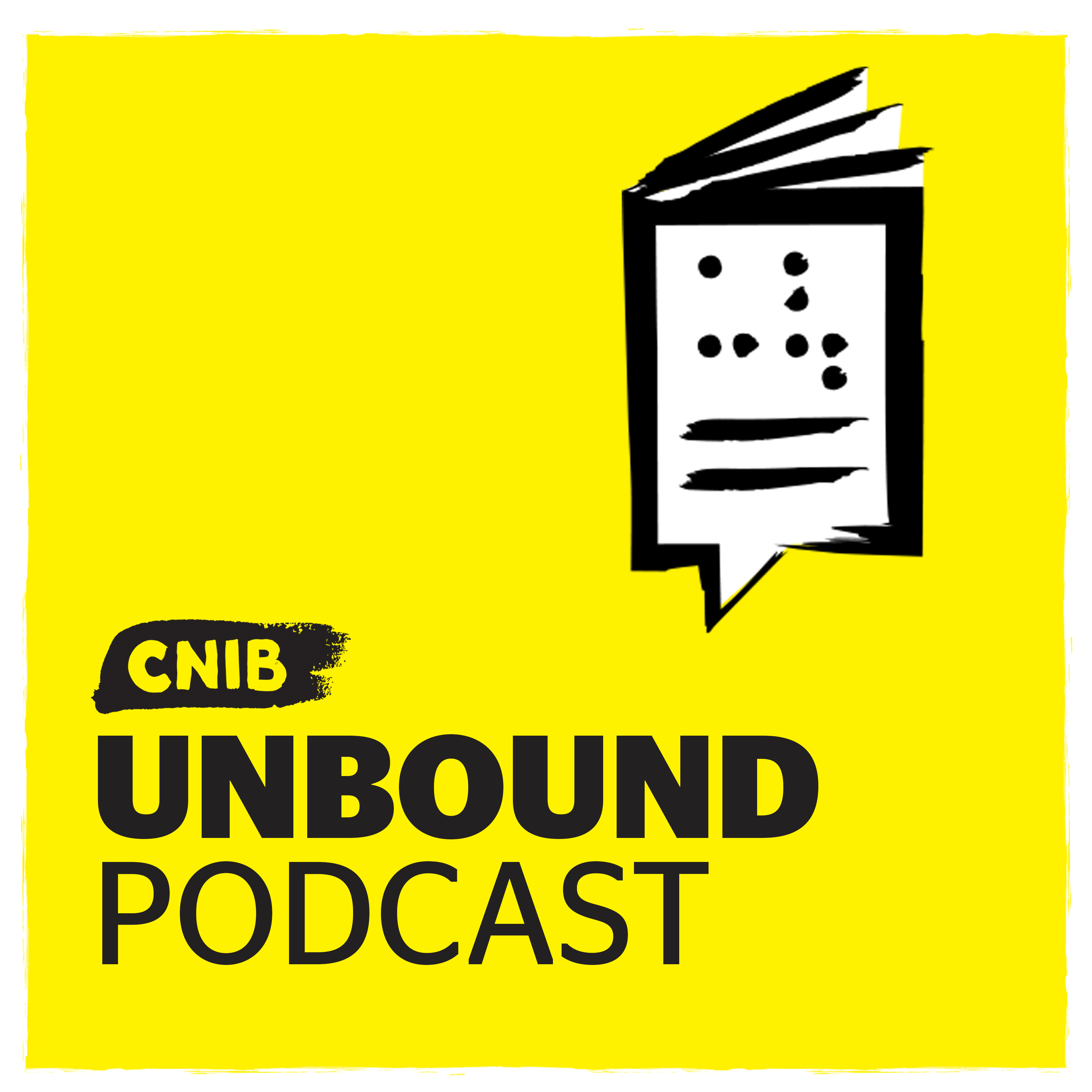 CNIB Unbound logo.  An illustration of a braille book with a speech bubble icon on yellow.