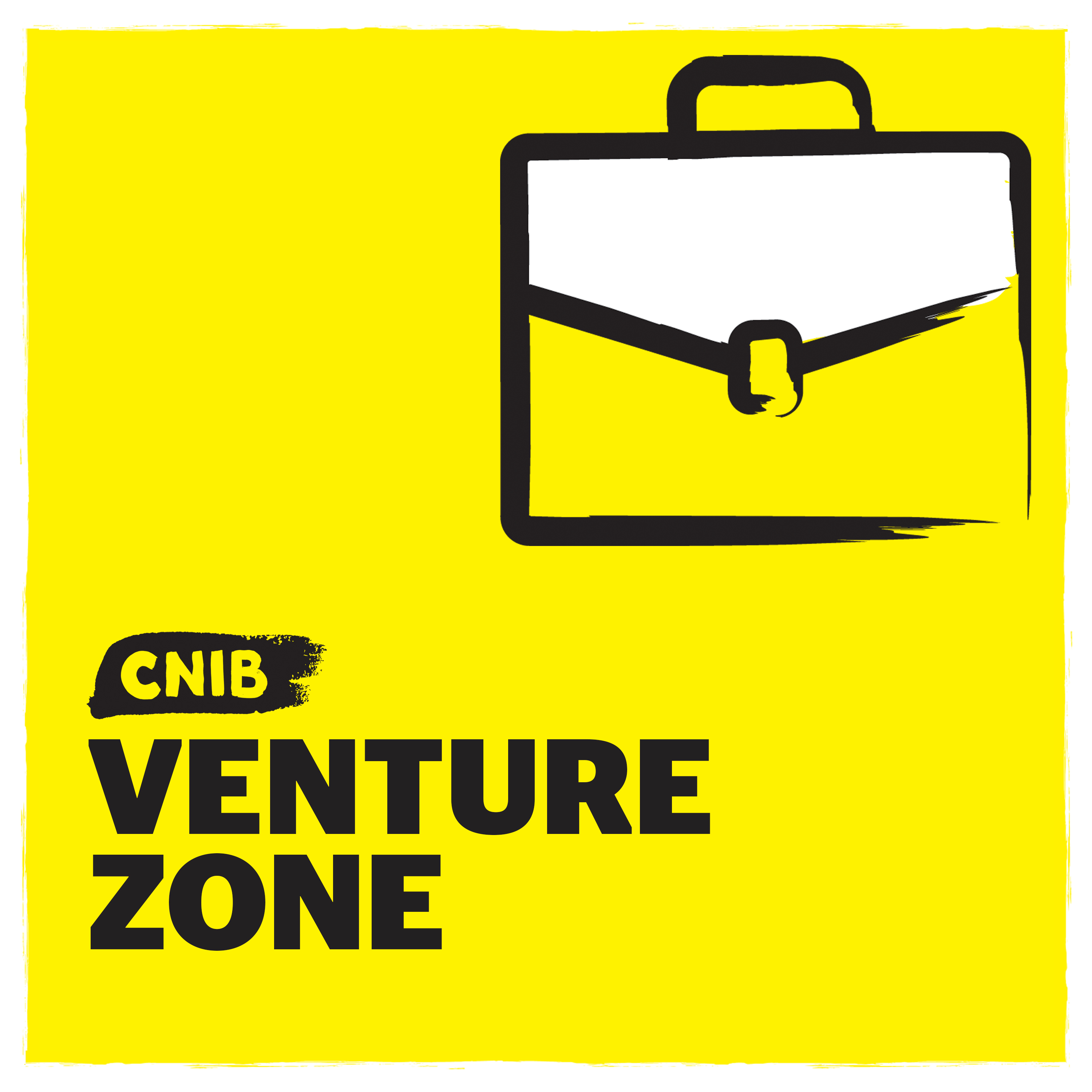 CNIB Venture Zone logo. An illustration of a briefcase on a yellow background.