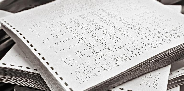 Stack of braille materials
